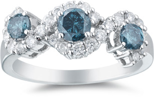 1.08 Carat Three Stone Blue and White Diamond Ring