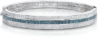 4.35 Carat Blue and White Diamond Bangle Bracelet