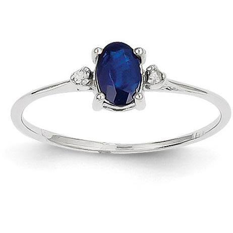 Blue Sapphire and Diamond Birthstone Ring, 14K White Gold