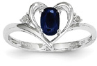 Blue Sapphire Heart Ring with Diamond, 14K White Gold