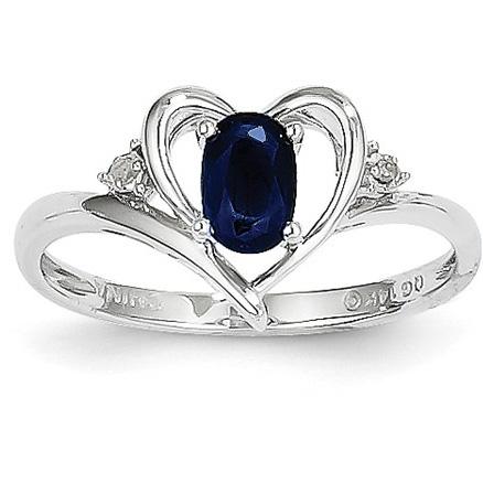 Sapphire | Heart | White | Ring | Gold | Blue