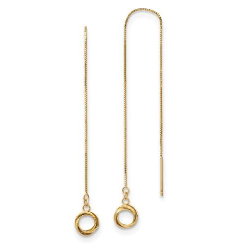 Box Chain Love Knot Earrings, 14K Gold