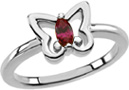 Butterfly Ring with Marquise Garnet Gemstone