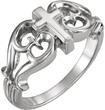 Byzantine-Style 14K White Gold Cross Ring for Women