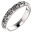 Women's Carved Flower Wedding Band Ring, 14K White Gold