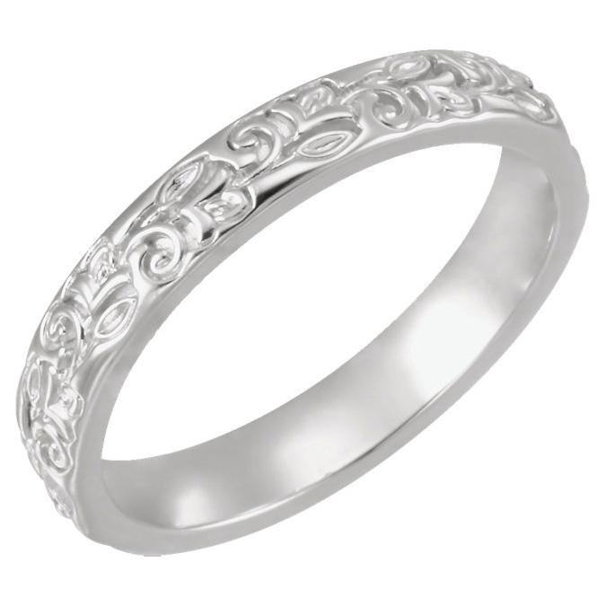 Women's Carved Flower Wedding Band Ring, 14K White Gold