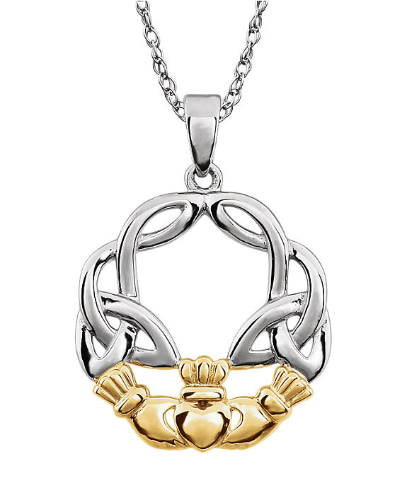 Celtic Claddagh Circle Necklace in Two Tone Gold