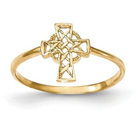 Celtic Cross Ring for Women in 14K Gold