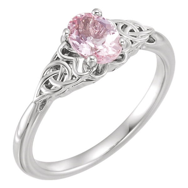 Celtic Knot Morganite Ring in 14K White Gold