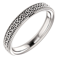 Celtic Milgrain Wedding Band Ring for Women, 14K White Gold