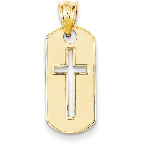 Christian Cross Dog Tag Pendant, 14K Yellow Gold