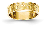 Christian Crosses Wedding Band Ring, 14K Gold