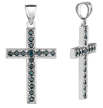 Blue Diamond Cross Pendant, 0.90 Carats, 14K White Gold