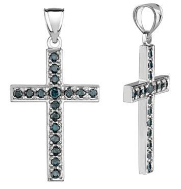 Blue diamond cross pendant 090 carats 14k white gold mozeypictures Choice Image