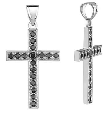 Black Diamond Cross Pendant, 0.90 Carats, 14K White Gold
