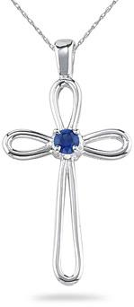 Sapphire Solitaire Cross Pendant, 14K White Gold