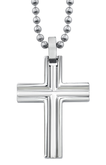 Beveled Titanium Cross Pendant