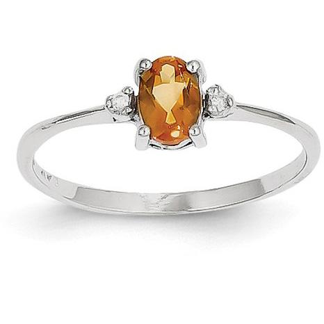 Citrine and Diamond Birthstone Ring, 14K White Gold