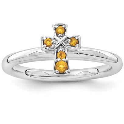 Citrine Cross Ring in Sterling Silver