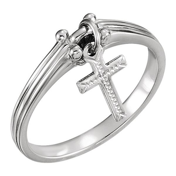 Women's Dangle Cross Ring, 14K White Gold
