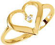 Diamond Accented Heart Ring in Gold