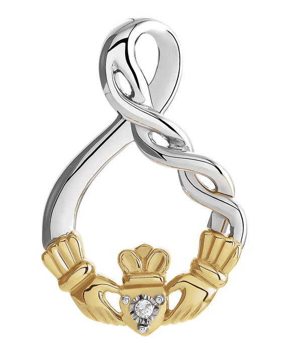 Diamond Claddagh Pendant in Sterling Silver and Gold