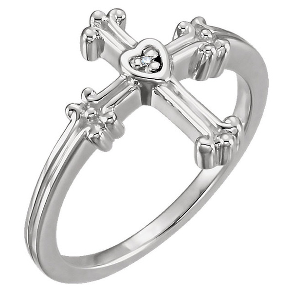 Women's Diamond Cross Ring with Small Heart Center, 14K White Gold