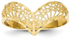 Diamond-Cut Filigree Chevron Ring in 14K Gold