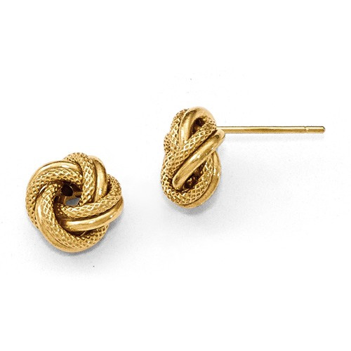Diamond-Cut Love Knot Earrings in 14K Gold