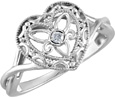 Diamond Filigree Heart Ring, Sterling Silver