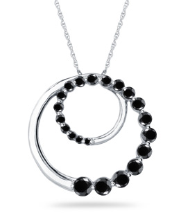 1/2 Carat Black Diamond Circle Journey Pendant (Pendants, Apples of Gold)