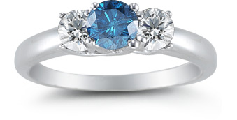 1 Carat Three Stone Blue and White Diamond Ring