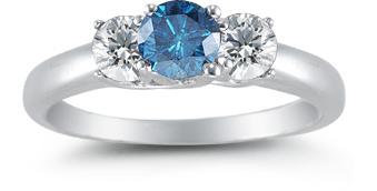 1 Carat Three Stone Blue and White Diamond Ring