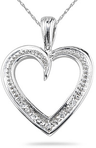 Buy Diamond Heart Pendant, 14K White Gold