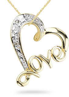 Diamond love pendant 14k yellow gold aloadofball Choice Image