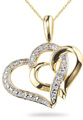 Double Heart Pendant, 14K Yellow Gold