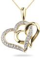 Double Heart Diamond Necklace, 14K Gold