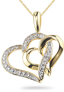 Buy Double Heart Diamond Pendant, 14K Yellow Gold