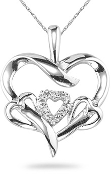 Four Hearts Diamond Pendant, 14K White Gold