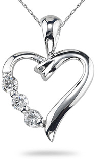 Journey Heart Pendant, 14K White Gold