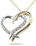 Two Heart Diamond Necklace, 14K Two-Tone Gold