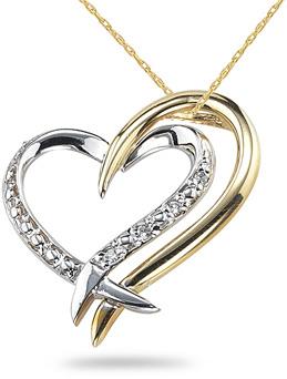14K Two-Tone Gold Diamond Heart Pendant