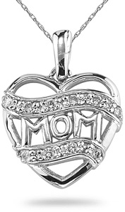 "Buy Diamond ""Mom"" Heart Pendant, 14K White Gold"