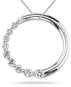 Buy 0.51 Carat Diamond Circle Journey Pendant, 14K White Gold