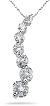 1.50 Carat Diamond Journey Pendant, 14K White Gold (Pendants, Apples of Gold)