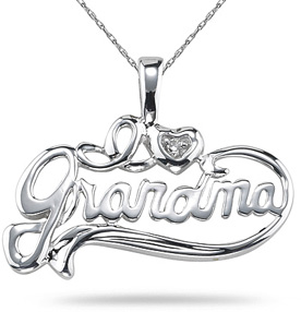 I Love Grandma Diamond Pendant, 14K White Gold (Pendants, Apples of Gold)
