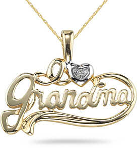 Buy I Love Grandma Pendant, 14K Yellow Gold