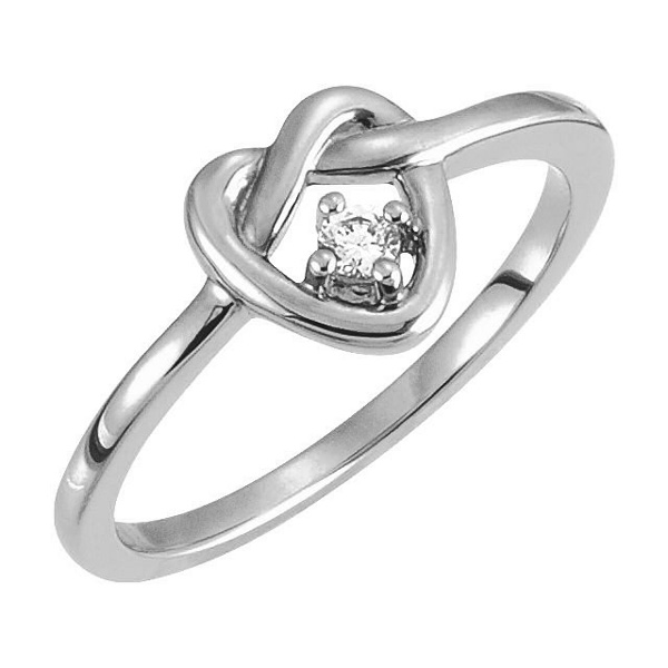 Diamond Love-Knot Heart Ring in White Gold