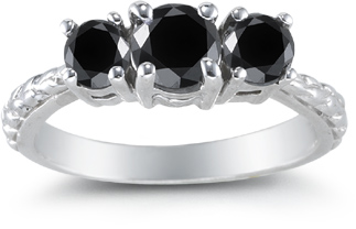 Buy 1 Carat Three Stone Black Diamond Ring