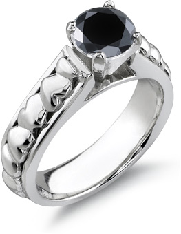 1/2 Carat Black Diamond Heart Ring, 14K White Gold